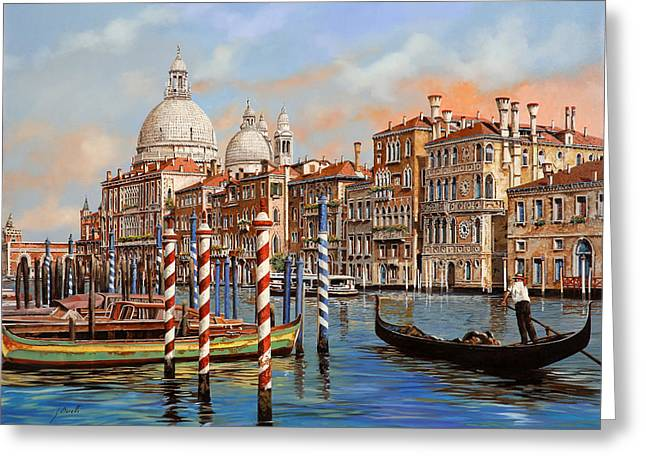 Table Wine Greeting Cards - Il Canal Grande Greeting Card by Guido Borelli