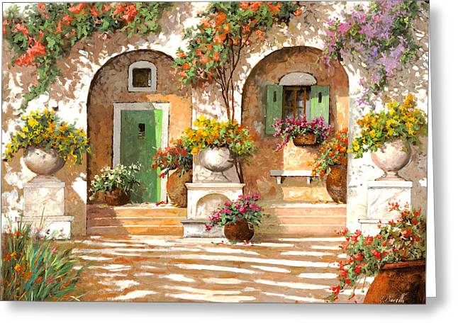 White Paintings Greeting Cards - Il Cortile Greeting Card by Guido Borelli