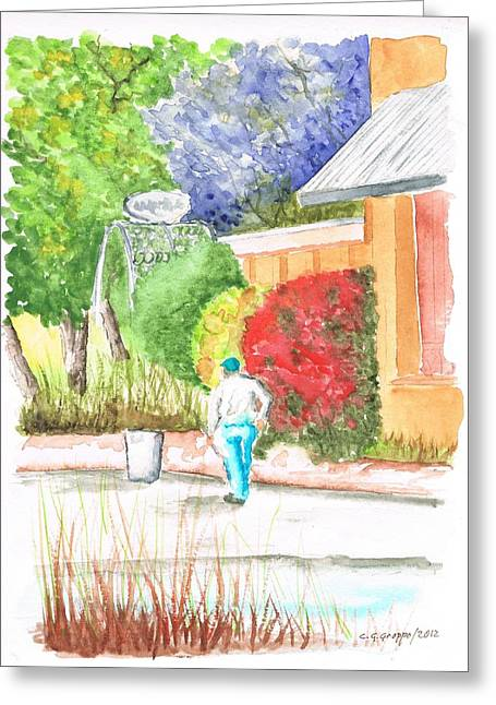 Fornaio Greeting Cards - Il Fornaio gardens in Irvine - California Greeting Card by Carlos G Groppa