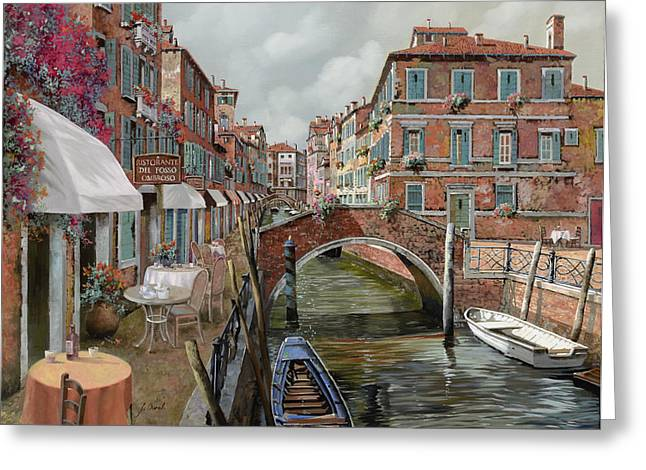 Dating Paintings Greeting Cards - Il Fosso Ombroso Greeting Card by Guido Borelli