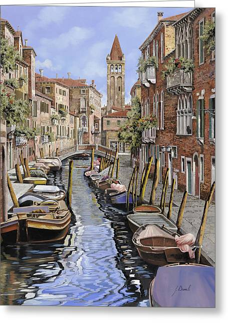 Canal Greeting Cards - il gatto nero a Venezia Greeting Card by Guido Borelli