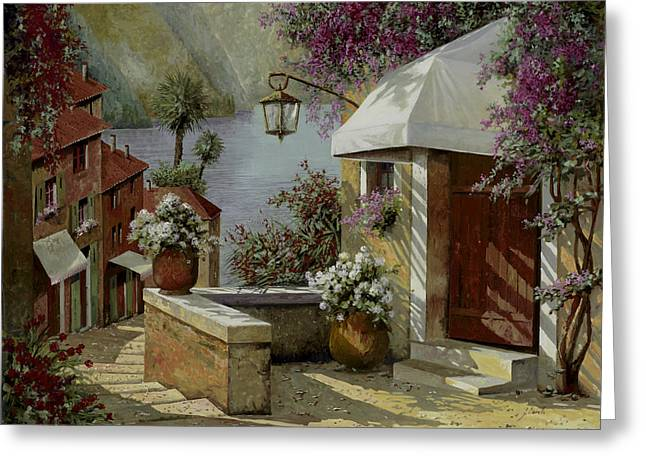 Lamp Greeting Cards - Il Lampione Oltre La Tenda Greeting Card by Guido Borelli