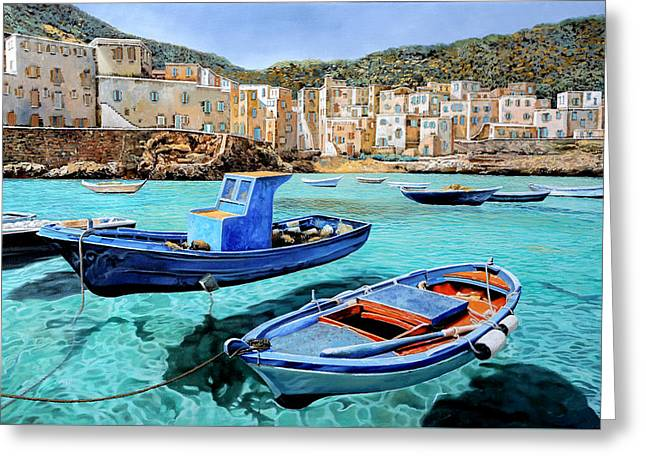 Emerald Greeting Cards - Il Mare Smeraldo Greeting Card by Guido Borelli