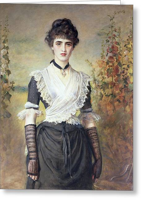 Long Gloves Greeting Cards - Il Penseroso Oil On Canvas Greeting Card by Sir John Everett Millais