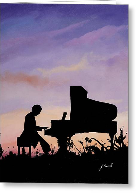 Il Pianista Greeting Card by Guido Borelli