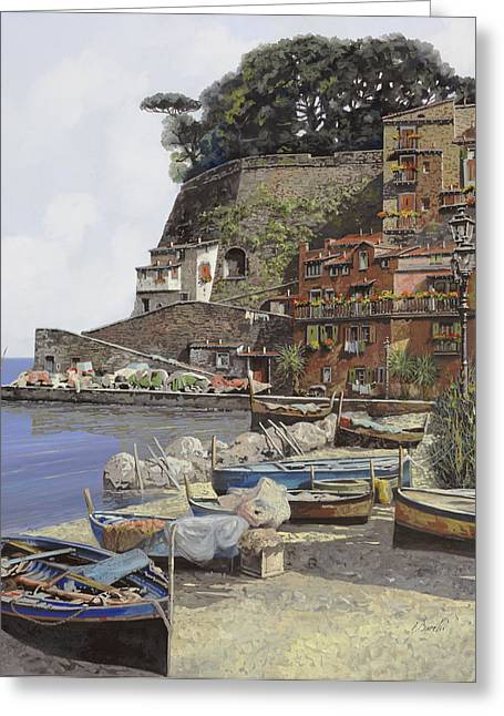 Naples Italy Greeting Cards - il porto di Sorrento Greeting Card by Guido Borelli