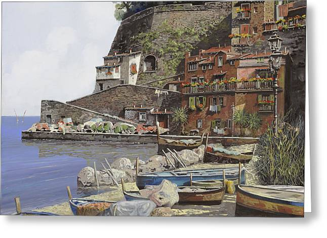 Amalfi Coast Greeting Cards - il porto di Sorrento Greeting Card by Guido Borelli