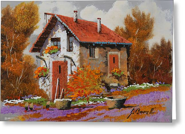 Yellow Trees Greeting Cards - Il Prato Viola Greeting Card by Guido Borelli