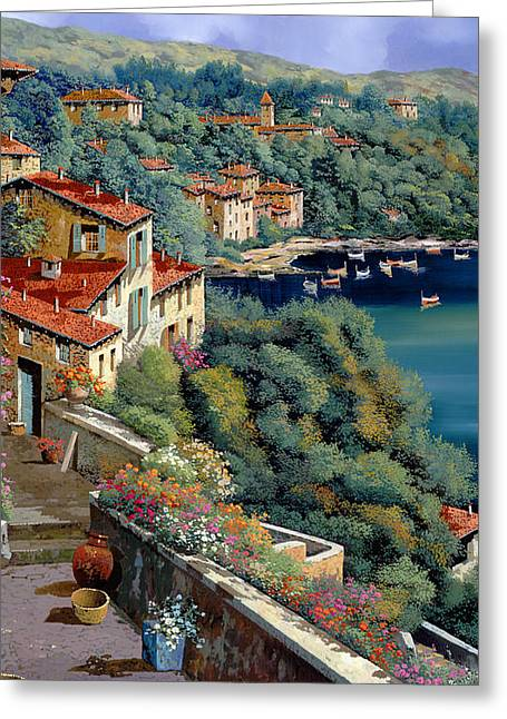 Tile Greeting Cards - Il Promontorio Greeting Card by Guido Borelli