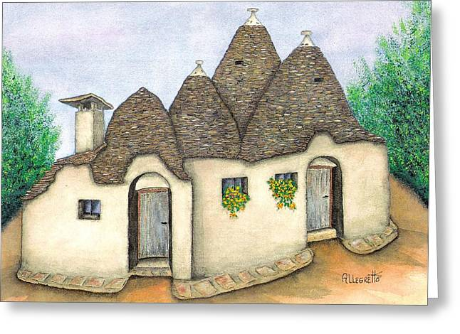 Italian Landscapes Greeting Cards - Il Trullo Alberobello Greeting Card by Pamela Allegretto