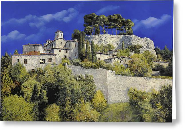Provence Village Greeting Cards - Il Villaggio In Blu Greeting Card by Guido Borelli