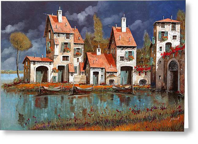Village Greeting Cards - Il Villaggio Sul Lago Greeting Card by Guido Borelli