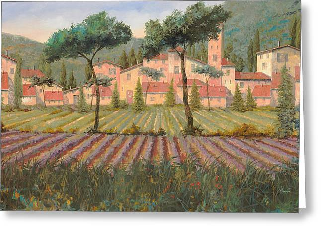 Provence Village Greeting Cards - Il Villaggio Tra I Campi Di Lavanda Greeting Card by Guido Borelli