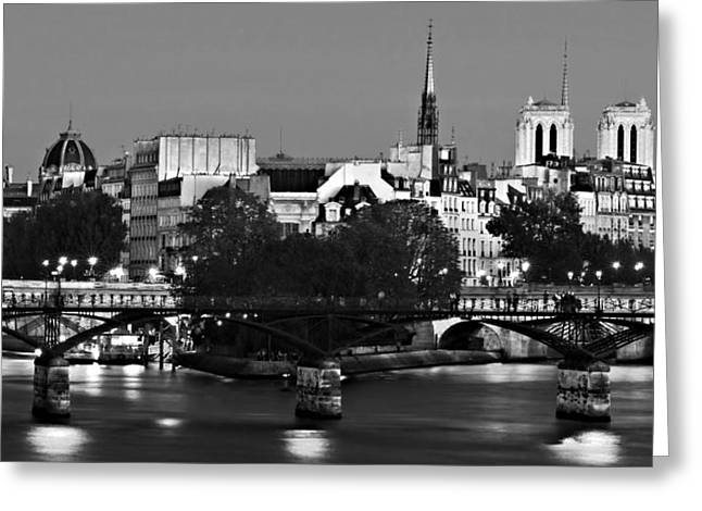 Ile Greeting Cards - Ile de la Cite and Pont des Arts at Night / Paris Greeting Card by Barry O Carroll