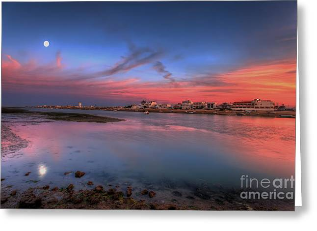 Praia De Faro Greeting Cards - Ilha de Faro Sunset Greeting Card by English Landscapes