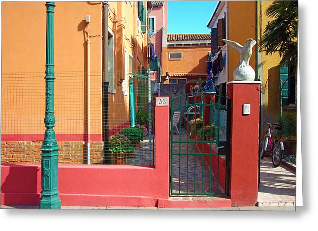 Venice - Italy Greeting Cards - Ill be waiting at the green lamp post   Greeting Card by Douglas Girard