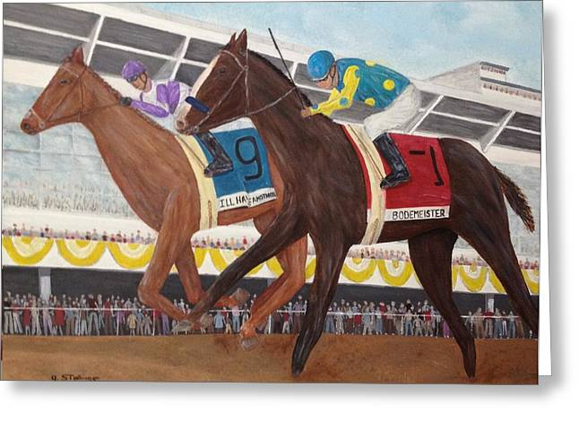 I'll Have Another Wins Preakness Greeting Card by Glenn Stallings