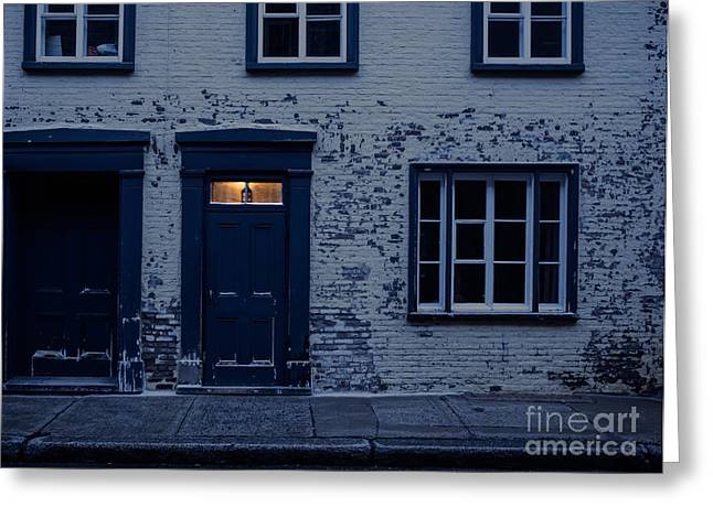 Townhouses Greeting Cards - Ill leave the light on for you Greeting Card by Edward Fielding