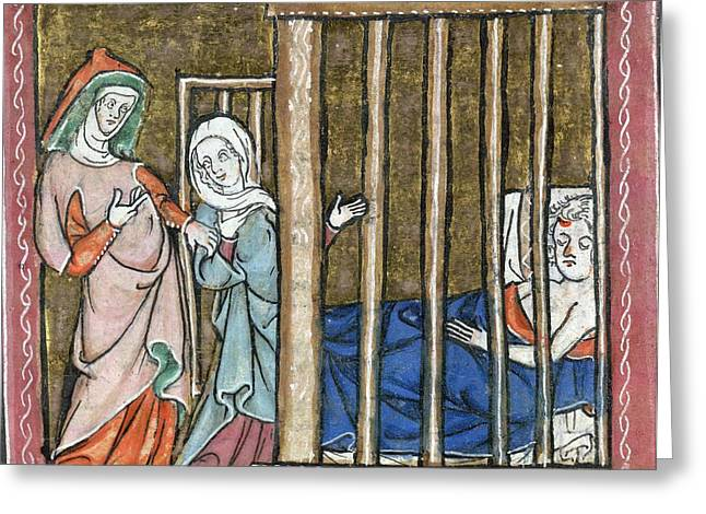 1300s Greeting Cards - Ill Man Being Cared For, Artwork Greeting Card by British Library