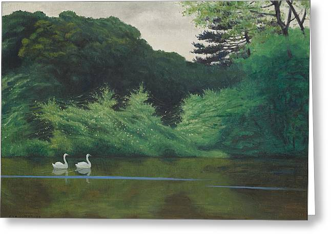 Swans... Greeting Cards - Ille du Lac Saint James Greeting Card by Felix Edouard Vallotton