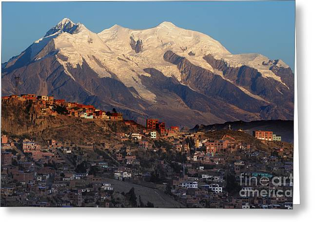 La Paz Greeting Cards - Illimani and La Paz Bolivia Greeting Card by Colin Woods