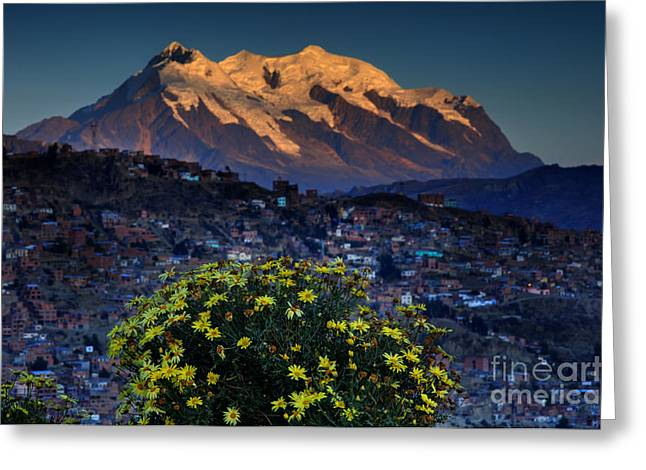 La Paz Greeting Cards - Illimani and La Paz Greeting Card by Colin Woods