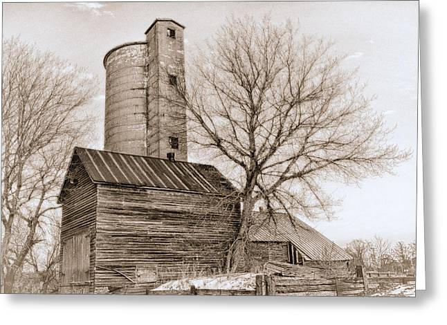 Old Barns Greeting Cards - Illinois Barn in Snowstorm Greeting Card by Lori Davy
