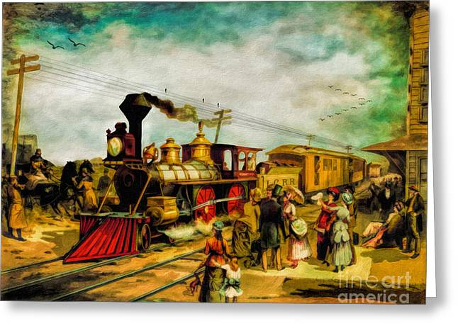 Lithography Greeting Cards - Illinois Central Railroad 1882 Greeting Card by Lianne Schneider
