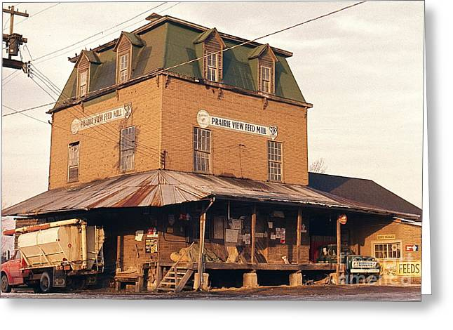 Old Feed Mills Photographs Greeting Cards - Illinois Feed Mill Greeting Card by Robert Birkenes