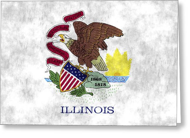 Flag Of Usa Greeting Cards - Illinois Flag Greeting Card by World Art Prints And Designs
