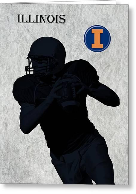 Indiana Art Greeting Cards - Illinois Football Greeting Card by David Dehner