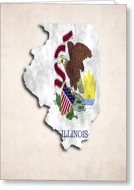 Geographic Digital Art Greeting Cards - Illinois Map Art with Flag Design Greeting Card by World Art Prints And Designs