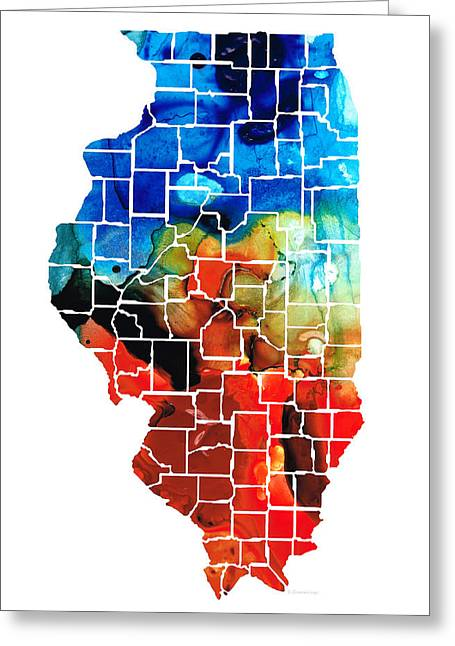 Chicago Bulls Mixed Media Greeting Cards - Illinois - Map Counties by Sharon Cummings Greeting Card by Sharon Cummings