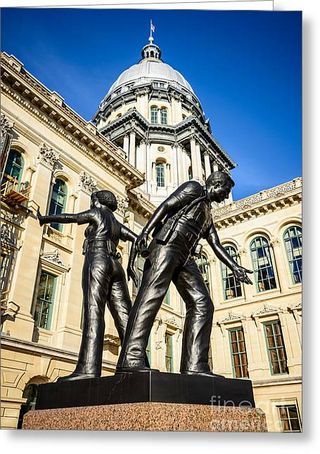 Officers Greeting Cards - Illinois Police Officers Memorial in Springfield Greeting Card by Paul Velgos