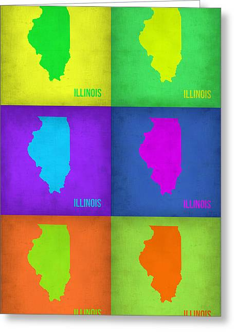 Illinois Greeting Cards - Illinois Pop Art Map 1 Greeting Card by Naxart Studio