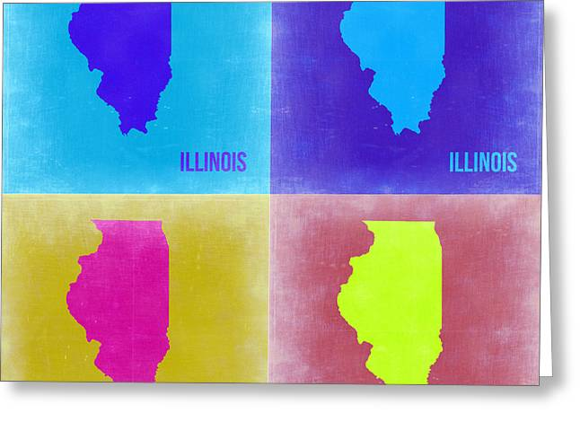 Illinois Greeting Cards - Illinois Pop Art Map 2 Greeting Card by Naxart Studio