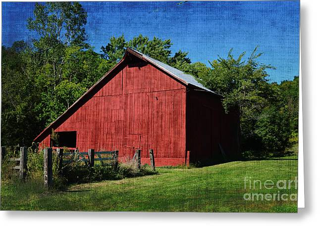 Old Barns Greeting Cards - Illinois Red Barn 2 Greeting Card by Luther   Fine Art