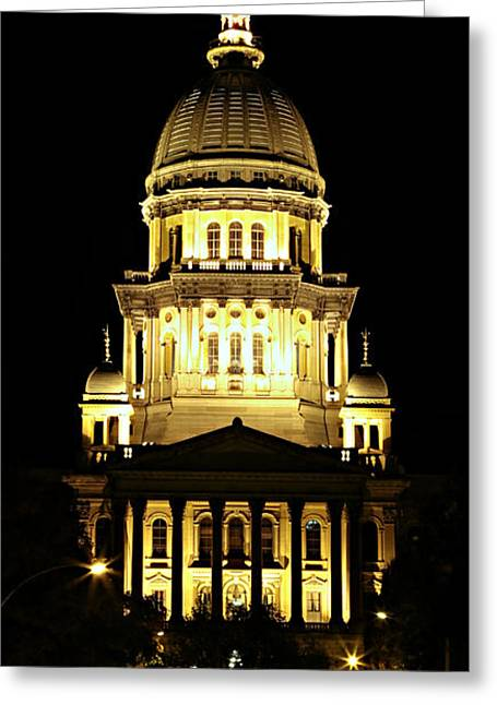 Flag Of Usa Greeting Cards - Illinois State Capitol -- Night Greeting Card by Stephen Stookey