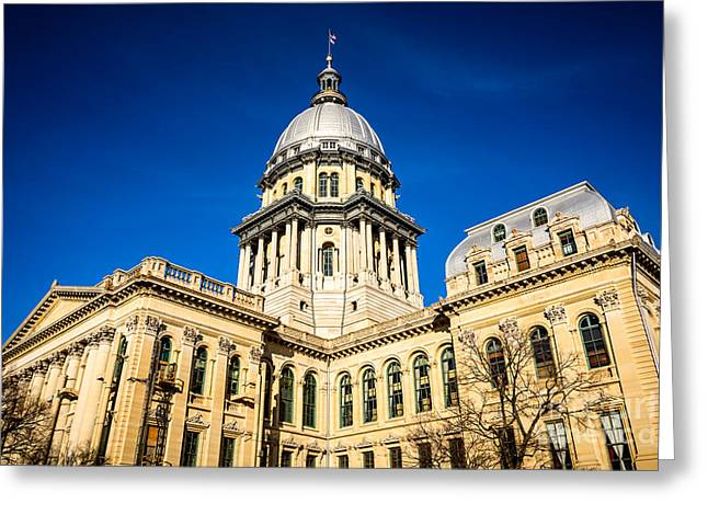 State Capitol Greeting Cards - Illinois State Capitol Building in Springfield Greeting Card by Paul Velgos