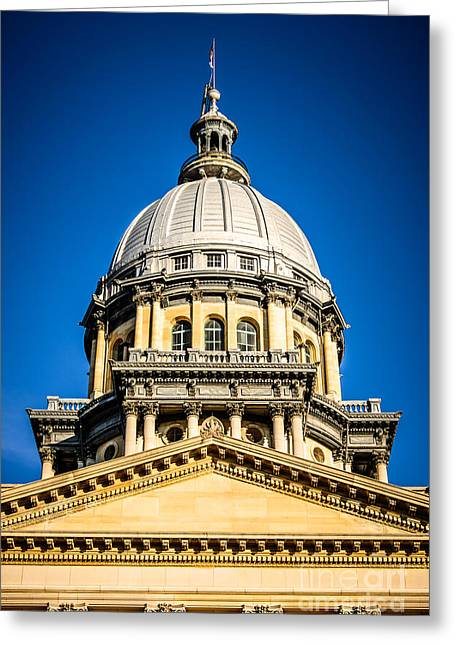 Capitol Greeting Cards - Illinois State Capitol Dome in Springfield Illinois Greeting Card by Paul Velgos