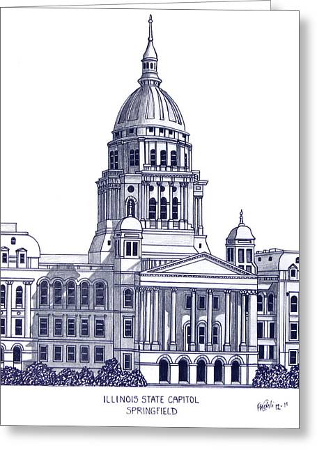 Pen And Ink Framed Prints Greeting Cards - Illinois State Capitol Greeting Card by Frederic Kohli