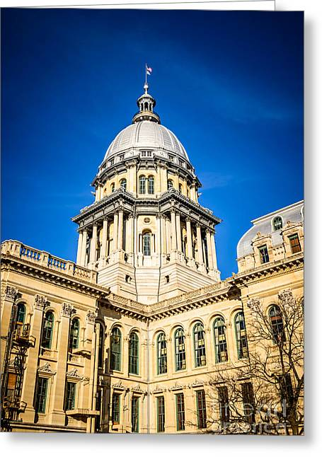 French Renaissance Greeting Cards - Illinois State Capitol in Springfield Illinois Greeting Card by Paul Velgos