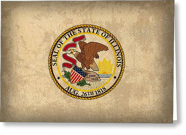 Illinois State Flag Art On Worn Canvas Greeting Card by Design Turnpike