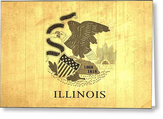 Chicago Bulls Greeting Cards - Illinois State Flag Barn Wall Greeting Card by Dan Sproul
