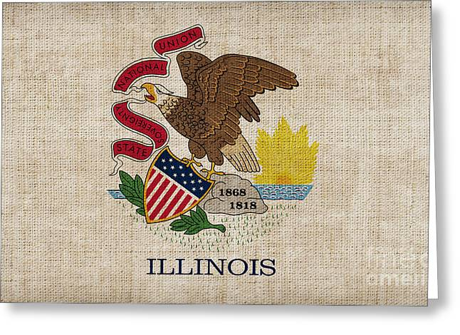 Best Sellers Greeting Cards - Illinois State Flag Greeting Card by Pixel Chimp