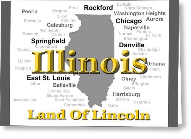 Rockford Greeting Cards - Illinois State Pride Map Silhouette  Greeting Card by Keith Webber Jr