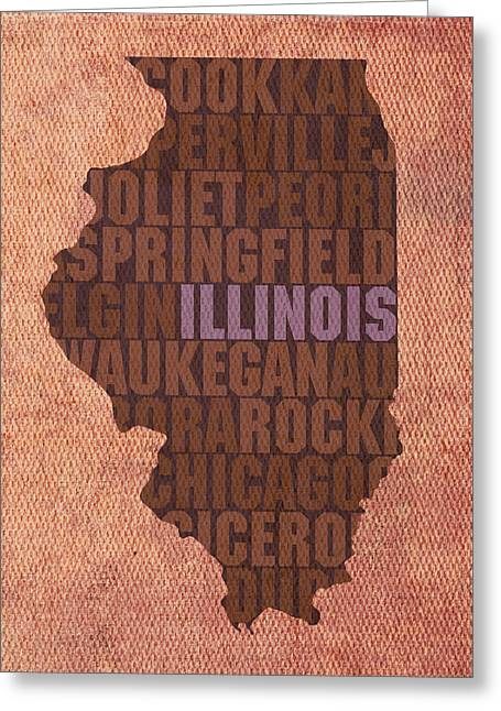 Art On Canvas Greeting Cards - Illinois State Word Art on Canvas Greeting Card by Design Turnpike