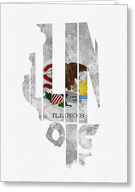Bizarre Mixed Media Greeting Cards - Illinois Typographic Map Flag Greeting Card by Ayse Deniz