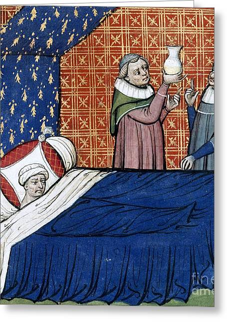 Written French Greeting Cards - Illness Of Duke Of Normandy, 14th Century Greeting Card by British Library