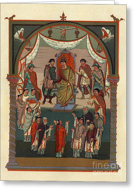 Religious Greeting Cards - Illuminated 9th Century Manuscript Painting Greeting Card by Christos Georghiou